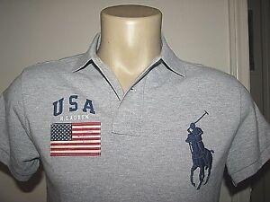 125-Custom-Fit-XXL-POLO-RALPH-LAUREN-Gray-Mesh-BIG-PONY-USA-FLAG-Polo-Shirt