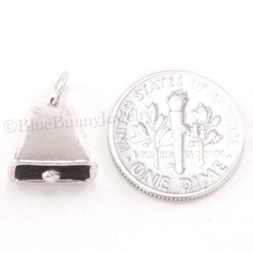 Cow Bell Charm Western Cloche Bracelet Charm Pendentif en Argent Sterling 3D 925
