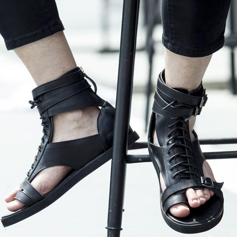 Mens gladiatore  Sandals High Top Leather Lace Up Roman sandals clip toe scarpe   controlla il più economico