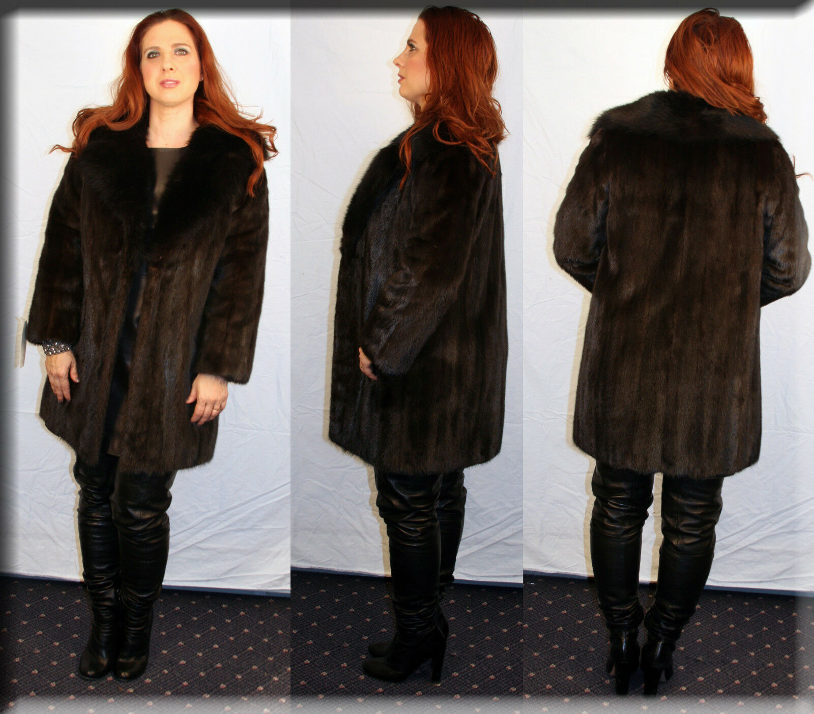 New American Legends Ranch Mink Fur Stroller Sable Collar Size Medium 6 8 M