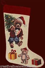 """Bear & Tree Needlepoint Christmas Stocking 11x17"""" Finished Piece New #1012"""