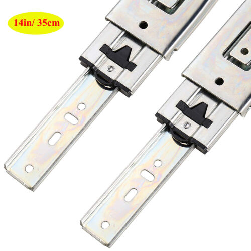 """Drawer Slides 1 Pair 3-Section Ball Bearing Full Extension Heavy Duty 2/"""" Width"""