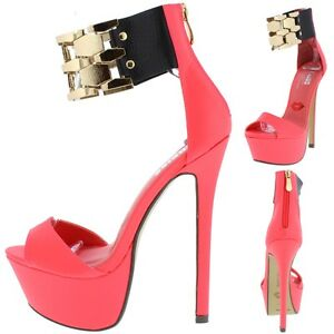 cf0c3064fcc Details about Red Kiss Flaunt Hot Pink Metal Link Ankle Cuff Platform Sexy  Dancer Shoe H170
