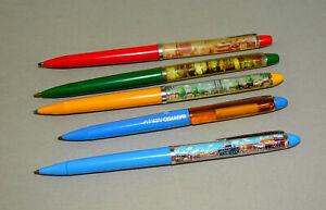 Lot of 5 Vintage old assorted floaty pens - Berlin, Austria,Gibraltar,