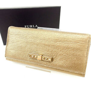Furla-Wallet-Purse-Long-Wallet-Gold-Woman-Authentic-Used-F677