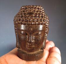 "2.1"" Fragrant Agarwood Oud Wood Heartwood Buddha Head Carving"