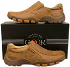 Mens Brand New Brown Leather Lined Casual Slip On Shoes Size 6 7 8 9 10 11 12