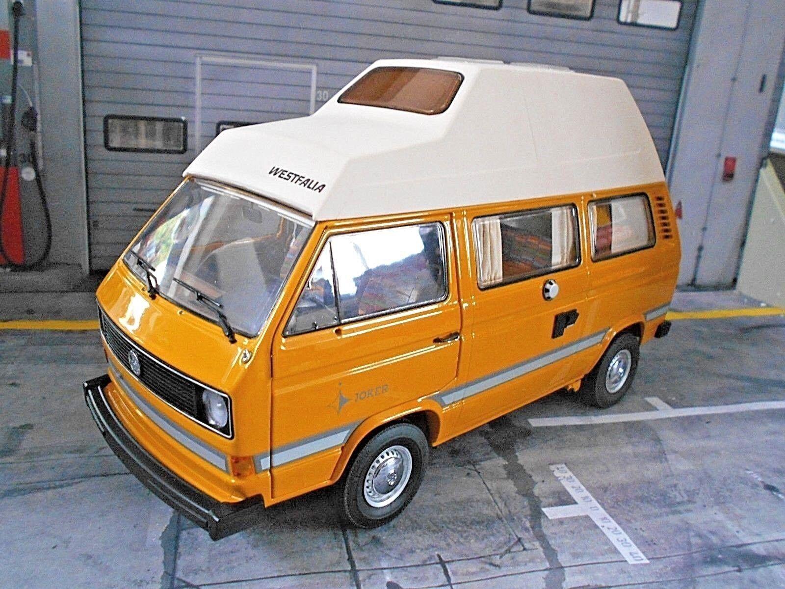 VW VOLKSWAGEN BUS t3 ad alta tetto Camper WESTFALIA JOKER CAMPEGGIO Schuco metallo 1 18