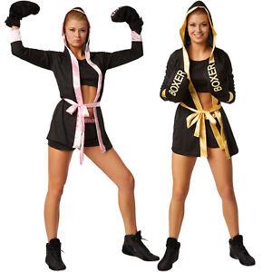 Frauenkostum Boxerin Mit Short Top Mantel Mit Gurtel Boxer Sport
