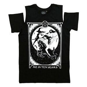 Restyle Gothic Occult Witch Me in Ten Years Cold Shoulder Black T Shirt Size S