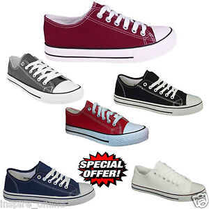 NEW-MENS-FLAT-CASUAL-LACE-UP-CANVAS-BOYS-TRAINERS-PLIMSOLLS-PUMPS-SHOES-SIZE