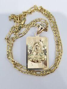 14k Yellow Gold Jesus Virgin Mary Double Sided Saint Religious Pendant Charm