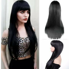 Soft Long Silky Straight Black Wig Full Head Synthetic Wigs w Bang Cosplay 60cm