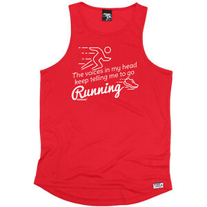 The Voices In My Head Keep Running Vest Funny Mens Sports Performance Singlet