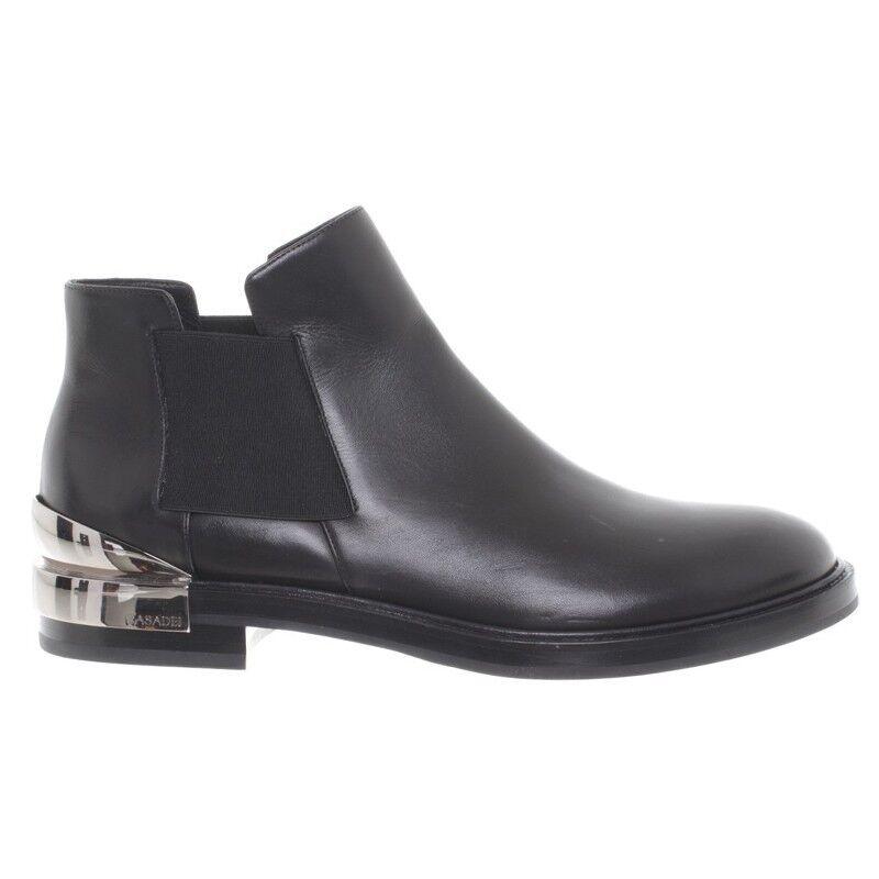 Nuevas botas al tobillo de mujer Plata CASADEI Cuero Negro Plata mujer Talón 8.5US 39.5EU   1099 43b156