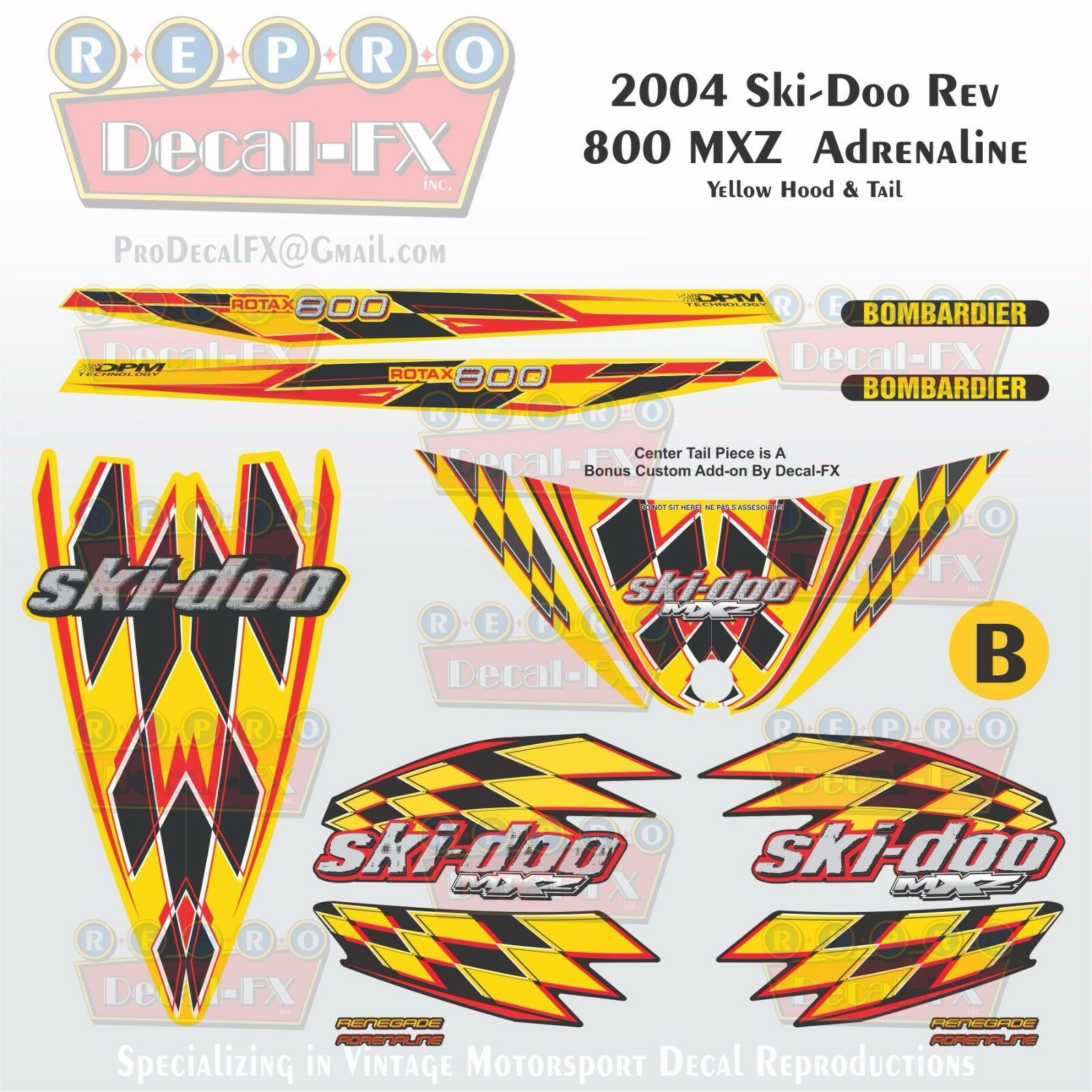 2004 Ski-doo MXZ800 Yellow Hood & Tail Rev Reproduction Vinyl Decal Set 16Pc