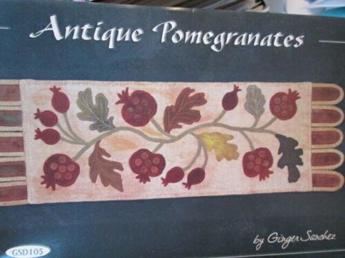 Antique Pomegranates Table Runner Applique PATTERN 12x38 Inches-Ginger Sanchez