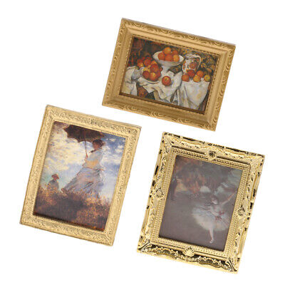 Fashion Vintage Photo Painting Mural Wall Picture for 1:12 Miniature Dollhouse