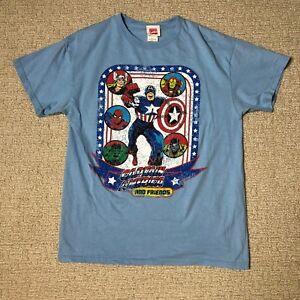 Marvel-Comics-Adult-Medium-M-Blue-Captain-American-Hulk-Super-Hero-Tee-T-shirt