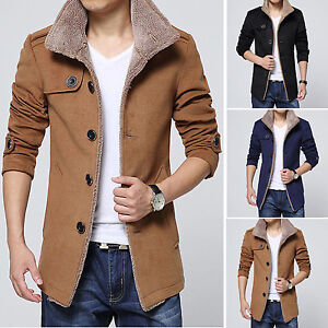 Men-039-s-Fleece-Warm-Trench-Coat-Thick-Jacket-Peacoat-Long-Casual-Overcoat-Outwear