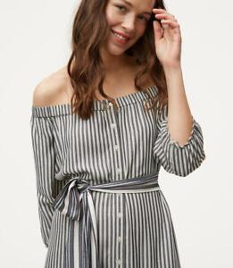 Nwt Ann Taylor Loft Striped Off The Shoulder Shirt Dress