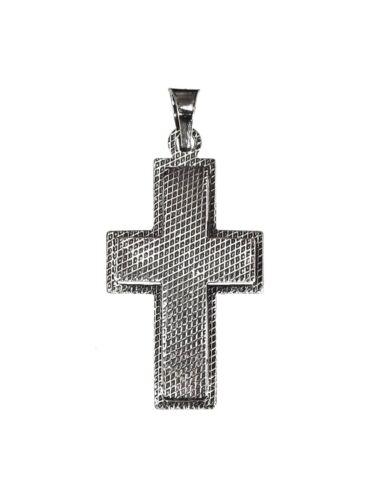 Pendentif Croix Large relief Convexe Gravure #202 Argent Sterling 925