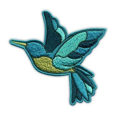 "3-Pack, Iron on Green Bird Badge 1-3//4/"" Blue Hummingbird Applique Patch"