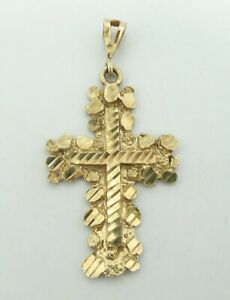 10K-Yellow-Gold-Dia-Cut-Gold-Nugget-Style-Religious-Cross-Pendant-1-55-034-5g-D8858