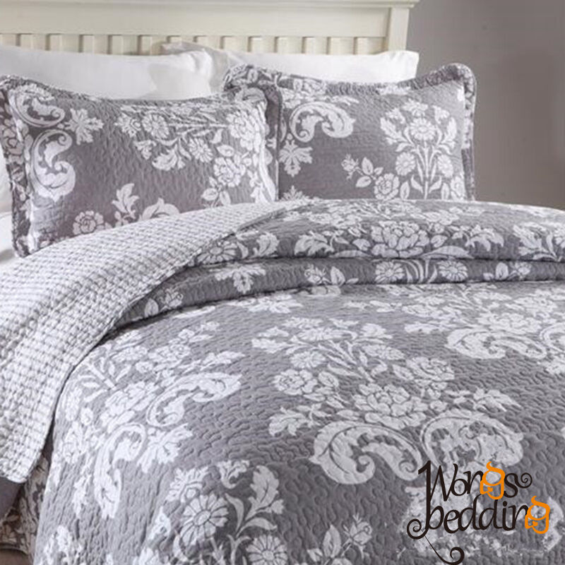 Vintage European Floral Cotton Quilted Bedspreads Coverlets Queen King Dimensione Bed