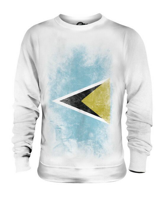 SAINT LUCIA FADED FLAG UNISEX SWEATER TOP ST. LUCIA SHIRT JERSEY GIFT