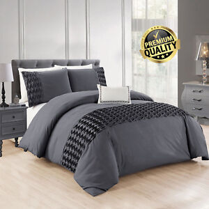 Grey-Wrinkled-Duvet-Cover-Bedding-Sets-With-Pillow-Cases-Single-Double-King-Size
