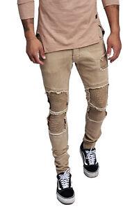 Jeans-Uomo-Biker-Jeans-Braun-Skinny-Fit-Strappato-Destroyed-Denim-John-Kayna