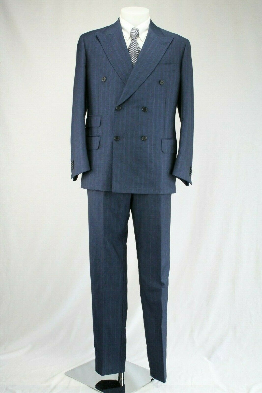 Sartoria Castangia Navy Striped Double Breasted Suit, Size  UK42 EU52