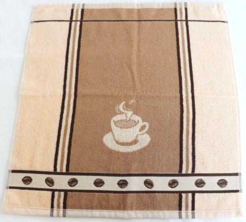 2x Serviettes Café éponge Espresso Bâton qui cuisine foulards Frottier Haricots Beige