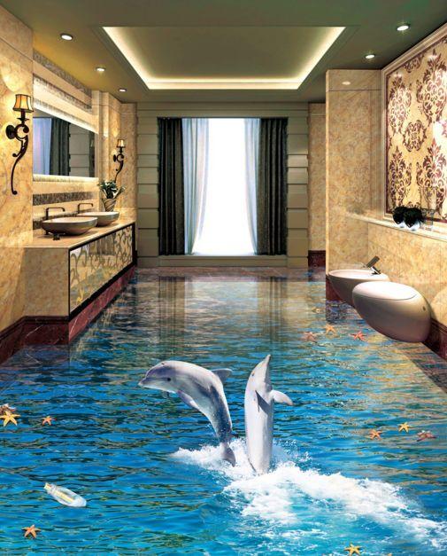 3D saltando Delfín Pez Piso Impresión De Parojo De Papel Pintado Mural Calcomanía 5D AJ Wallpaper