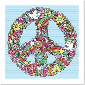 Floral Peace Sign Home Decor Wall Art Poster