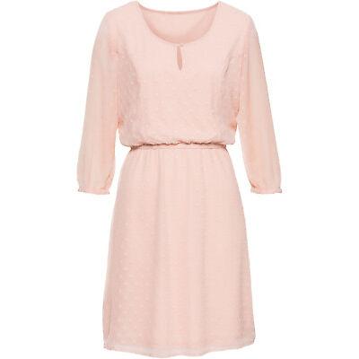 Sommer Kleid rosa zartes Muster  38 40 42 44  S M L  Knielang 3/4 Arm 721 neu