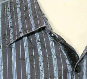 Pronto Uomo Blur Shirt Blue Striped Men's 2XLT Tall Black Accents