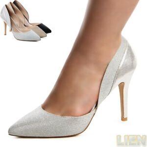 Damen-Glitzer-Pumps-Plateau-Hochzeit-Party-High-Heels-LUXUS