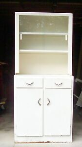 vintage metal kitchen cabinets vtg white metal cabinet glass industrial kitchen 6849