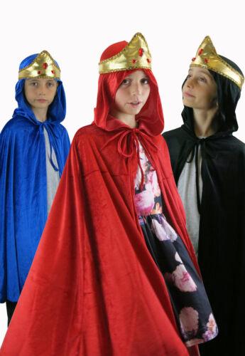 Velvet Cape /& Crown Nativity Fancy Dress Wise Men King Queen Christmas Dress Up