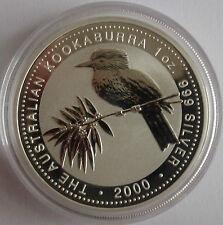 2000 AUSTRALIEN KOOKABURRA, 1 OZ BU/ST SILBER, IN ORIGINAL PERTH MINT KAPSEL
