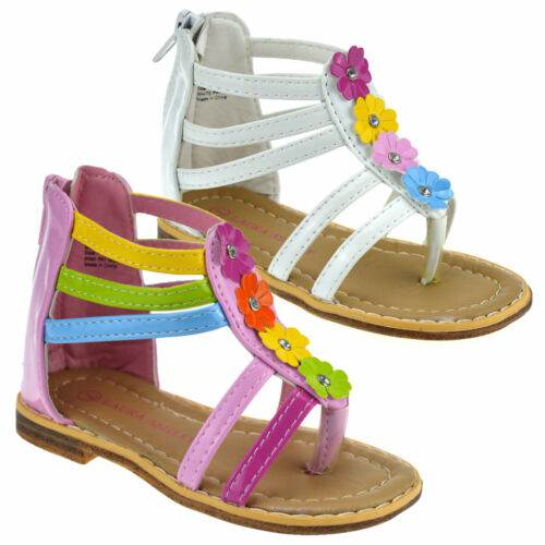 Girls Kids Childrens Infants New Summer Beach Zip Up Flower Sandals Shoes Size