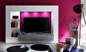 Parete porta TV Jane, mobile soggiorno moderno bianco e beton ...