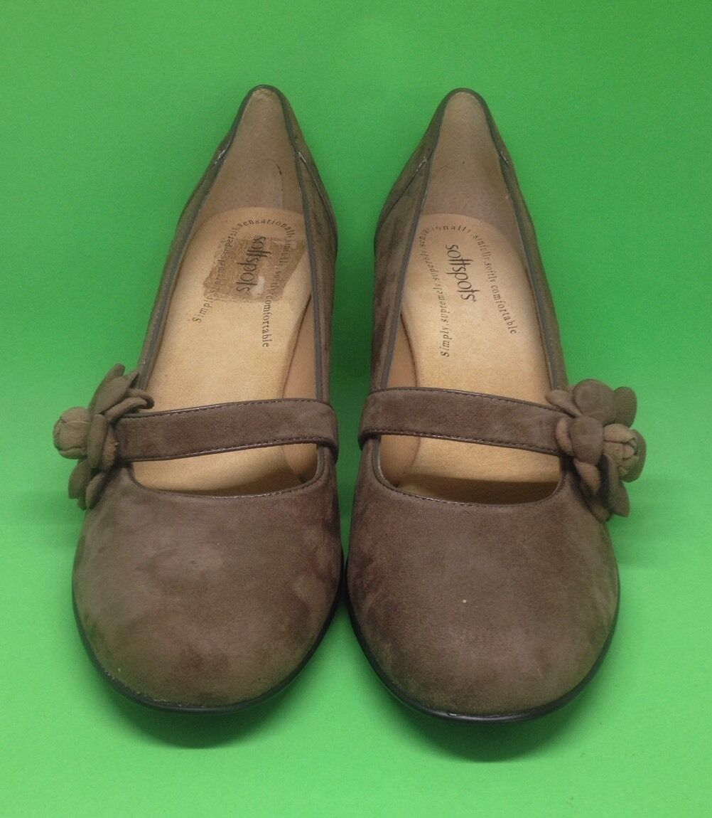 Soft Spots Brown Suede Leather shoes Flower strap heels Women's 10N narrow  VGC