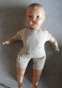 Vintage-1940s-Horsman-Composition-Cloth-Baby-Boy-Character-Doll-14-034-Tall
