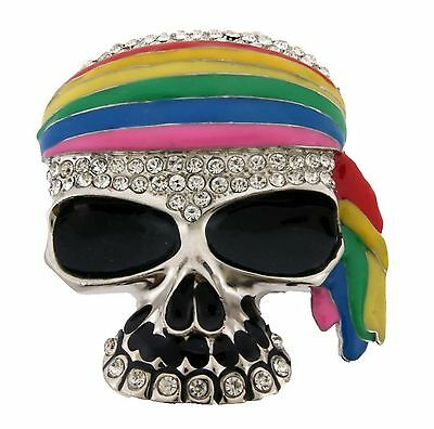 Gay Lesbian LGBT Pride Men's Skull Belt Buckle Skeleton Rainbow Metal Tattoo New