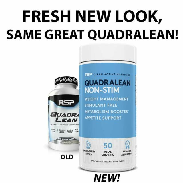RSP Nutrition QuadraLean Stim Free Weight Mgt, Metabolism Booster Energy 50serve