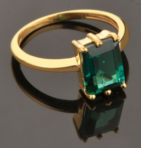 Real 14KT Yellow Gold Octagon Shape 1.40CT Natural Green Emerald Wedding Ring