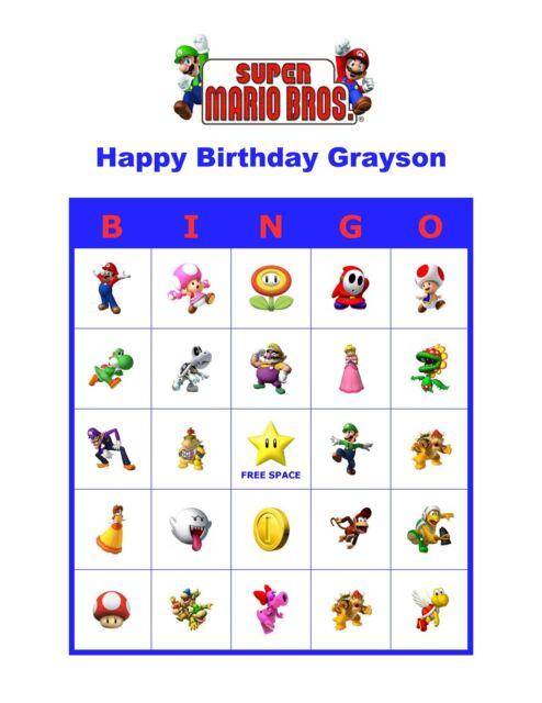 Super Mario Bros Brothers Nintendo Birthday Party Game Bingo Cards